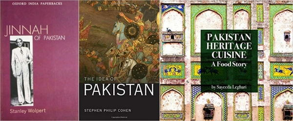 사진 왼쪽부터 책 『Jinnah of Pakistan』 『The Idea of Pakistan』 『Pakistan Heritage Cuisine』.